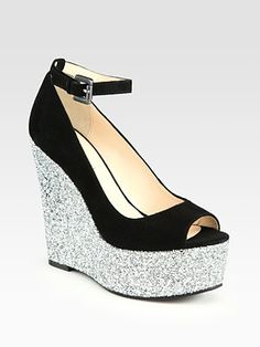 Boutique 9 - Glitter and Suede Wedge Sandals - Saks.com  In case I get tired