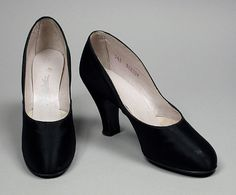 Pair of Woman's Pumps United States, circa 1935 Costumes; Accessories Silk satin, leather
