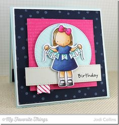 Happy Banner stamp set and Die-namics, Confetti Background, Diagonal Stripes Background, Happy Birthday Background, Square STAX Set 1 Die-namics - Jodi Collins #mftstamps