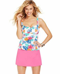 MACY's: Real Bodies Real Solutions Floral-Print Underwire Tummy-Control Tankini Top & High-Waist Swim Skirt - Swimwear - Women $34.98 Top & 29.98 Bottom (Everday Value)