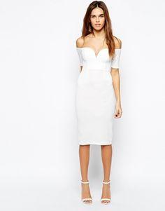Oh My Love Sweetheart Bardot Dress white off shoulder wiggle pencil midi retro glam classy sexy