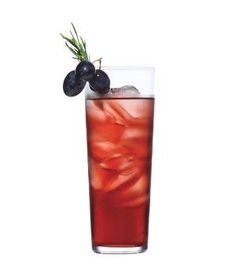 Rosemary, Grape, and Gin Cocktail 1/2 cup sugar 8 fresh rosemary sprigs 1 cup Concord grape juice 3/4 cup gin 1/2 cup club soda 1/4 cup fresh lemon juice In a small saucepan, bring the sugar, 4 of the rosemary sprigs, and ½ cup water to a simmer. Remove from heat and let cool.Strain the sugar syrup into a large pitcher. Add the grape juice, gin, club soda, and lemon juice and stir to combine. Serve over ice; garnish each glass with grapes and 1 of the remaining rosemary sprigs.