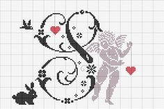 s with cherub Embroidery Letters, Embroidery Sampler, Cross Stitch Embroidery, Hand Embroidery, Embroidery Designs, Cross Stitch Alphabet, Cross Stitch Charts, Cross Stitch Patterns, Alphabet Cards
