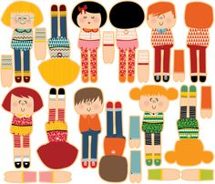 DITSY DOLLS fabric by laura_the_drawer on Spoonflower - custom fabric