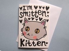 Cat valentines day card   I like Cats  cat anniversary card