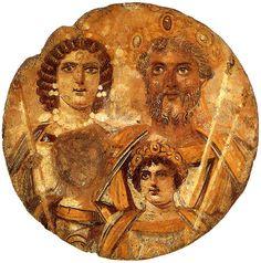 Tondo mit Septimus Severus und seiner Familie (Tondo showing the Severan dynasty, the family of Roman Emperor Septimius Severus), Tempera auf Holz, Dm 30,5 cm, Date~199-201 SourceBerlin, Antikensammlung (Inv.: 31329)