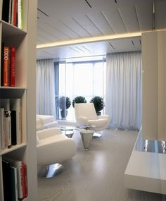 Amazing An Apartment with Soft Hue in a Futuristic Design Theme: Stunning Futuristic Tranquility Apartment Interior Bookcase Room Divider ~ anahitafurniture.com Apartment Inspiration
