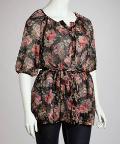 Black & Red Floral Button-Up Top - Plus