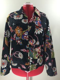 Anne Carson Cotton Jacket Floral Pockets Summer Jean Fully Lined WomensSize XL #AnneCarson #Jacket