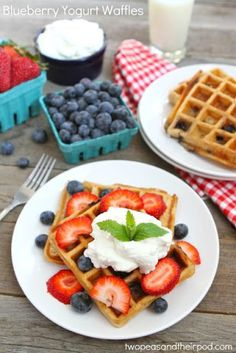 Whole wheat blueberry yogurt waffles garnished with strawberries, blueberries, and whipped cream. These waffles are perfect for the of July or Memorial Day. Waffle Recipes, Fruit Recipes, Brunch Recipes, Breakfast Recipes, Freezer Recipes, Freezer Cooking, Drink Recipes, Cooking Tips, Healthy Recipes