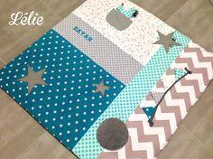 Tapis d'éveil sur commande-tapis de parc brodé / Tapis de jeux personnalisé pour bébé sur commande 100*100. Coloris : Jeux, peluches, doudous par chez-lelie