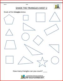 Shape Worksheets for kids Shade the Triangles