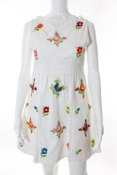 NANETTE LEPORE White Cotton Floral Embroidery V-Neck Sleeveless Sz 4 #NANETTELEPORE #Sundress #Casual