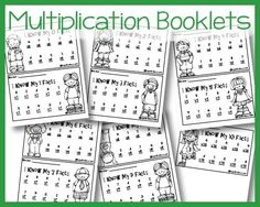 Multiplication Fact Booklets - Free printables to practice multiplication facts There is also one for addition! Multiplication Facts Practice, Math Facts, Multiplication Strategies, Math Fractions, Free Multiplication Worksheets, Printable Math Worksheets, Free Printables, Summer Worksheets, Third Grade Math