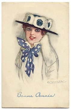 1920s Mauzan Fashion Postcard
