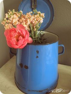 flowers in old enamelware
