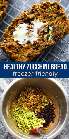 Healthy zucchini bread is perfectly moist, slightly sweet, with bites of chocolate chips and walnuts. With no refined sugar, just a touch of coconut oil, and whole wheat flour, it's a healthier treat to enjoy with a cup of coffee. Healthy Chips, Healthy Zucchini, Zucchini Bread, Healthy Snacks, Freezer Recipes, Freezer Meals, Crockpot Recipes, Chicken Recipes, Snack Recipes