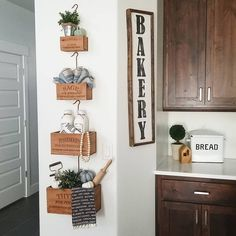 Happy Day, its Thursday! We are getting so close to the weekend, I can almost taste it. Do you know what else I can almost taste? Dining Room Design, Dining Rooms, Crate Decor, Herb Wall, Farmhouse Decor, Farmhouse Style, Wooden Decor, Kitchen Decor, Kitchen Ideas