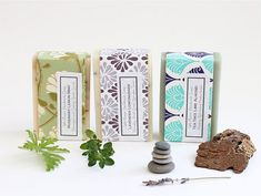 Handmade soaps wrapped in decorative paper by The Little Flower Soap Co via Paper Mojo the Blog