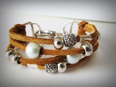 Suede Bracelet with Silver Beads by zSwBizuteria on Etsy
