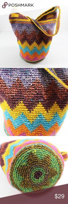 """Tribal African Woven Bucket Bag Bright Purse Large Zig zag bright colors Zipper closure Unlined  Measures Approximately: 10"""" tall 8"""" wide Strap drop ~ 14"""" Strap was shortened by hand - could be picked out to make it longer Bags Crossbody Bags"""