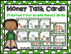 Students will love to integrate technology with this fun money activity! Check out the preview to get a peek at the product!After solving the prompts on each of the task cards, students scan the QR code to check their answer! Color and black and white versions available!If you don't have access to QR app scanners, I've included a version that doesn't have QR codes on it!