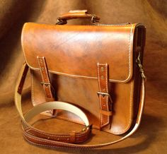 Classic Vintage Antique tan leather messenger bag attache briefcase