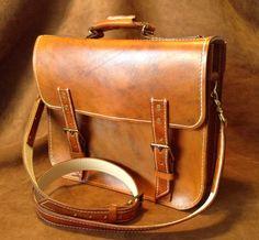 Classic Vintage Antique tan leather messenger bag attache briefcase
