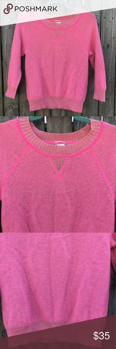 J. Crew Cashmere Sweater Pre-loved pink/neon long-sleeve sweater. 100% Cashmere. Very soft and in great condition. Size XS but also can fit as a Small size. Made in China of Italian yarn. Make an offer 💕 J. Crew Sweaters Crew & Scoop Necks