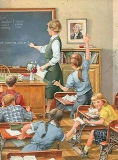 "Charles Peterson's School Days Series print ""Taking Notes"" Very similar to my class; except, the girl's would not be passing notes, the would be exchanging texts! Images Vintage, Vintage Pictures, Vintage Cards, Vintage Prints, Vintage Posters, Norman Rockwell Art, Vintage School, Arte Pop, Country Art"