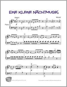 Eine Kleine Nachtmusik | Sheet Music for Piano (Digital Print) - http://makingmusicfun.net/htm/f_printit_free_printable_sheet_music/eine-kleine-nachtmusik-piano-solo.htm