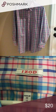 Izod colorful plaid long sleeve button down shirt Wrinkle free, quick dry, twill. 60% cotton, 40% polyester. Never worn. Izod. Neck 17 32/ 33 Izod Shirts Casual Button Down Shirts
