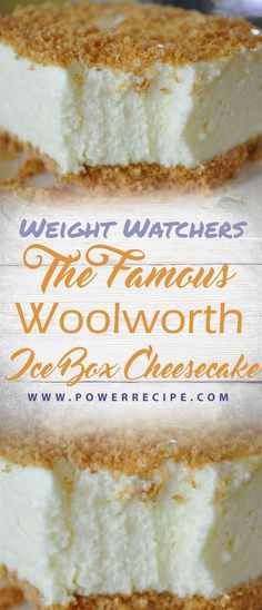 """The Famous Woolworth Ice Box Cheesecake Healthy Recipe - Yummlycious """"Eats Healthy"""" - keep up with Healthy, Delicious and Easy recipes, cooking tips, and more for every meal, occasion cheese cakesand new ideas. Icebox Desserts, Icebox Cake, Köstliche Desserts, Healthy Desserts, Dessert Recipes, Light Desserts, Dinner Healthy, Dinner Recipes, Healthy Eating"""