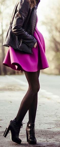 http://www.luvtolook.net/2015/09/fashion-trends-fuschia-dress-leather.html