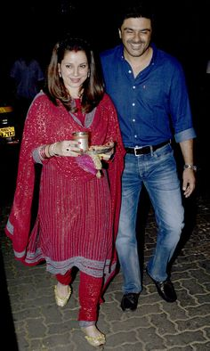 Samir Soni and Neelam at #KarvaChauth celebrations at Anil Kapoor's residence. #Bollywood #Fashion #Style #Beauty #Hot #Desi