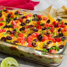 Bring on the chips. This is the ultimate party dip – it's easy to prepare and layered with so many flavors. Dip Recipes, Mexican Food Recipes, Appetizer Recipes, Cooking Recipes, Supper Recipes, Yummy Recipes, Cooking Tips, Keto Recipes, Fiesta Dip