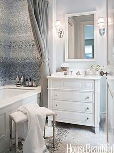 Designer Sandra Nunnerley adds tranquil glamour to a his-and-hers bathroom in New York City.