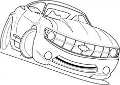 Racing Car Chevy Camaro Cool Coloring Page Race Car Coloring Pages, Printable Coloring Pages, Chevy Camaro, Coloring For Kids, Race Cars, Transportation, Racing, Colour, Cool Stuff