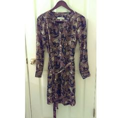 LOFT Dress LOFT Brand Dress with Removable Belt. Olive, Purple, Navy, and Cream Floral Pattern. Halfway Buttons Down with Buttons on the Cuffs as Well. Size XS. LOFT Dresses Long Sleeve