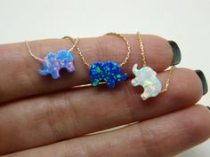 Elephant necklace Opal elephant necklace Lucky charm by OpaLand