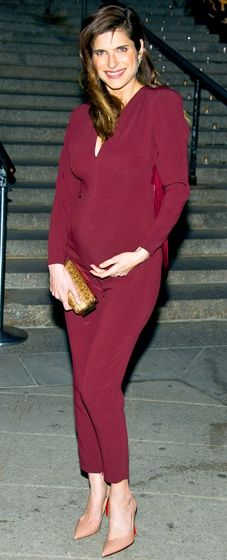 Lake Bell shows off her baby bump in a burgundy Stella McCartney jumpsuit at the Tribeca Film Festival Vanity Fair party