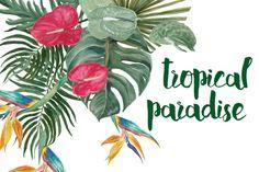 Watercolor tropical paradise by ramika on @creativemarket
