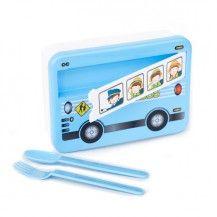 Lunch box bus boîte goûter bus bleu kitsch kitchen vente accessoires et objets décoration enfants : My Little Bazar.