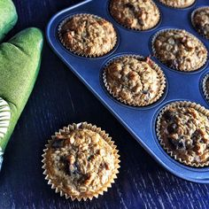 These banana coconut chocolate chip oatmeal muffins are packed with good-for-you ingredients.