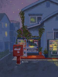 Aesthetic Drawing, Aesthetic Art, Aesthetic Anime, City Illustration, Watercolor Illustration, Watercolour, Aesthetic Japan, Japanese Aesthetic, Iphone Wallpaper Tumblr Aesthetic