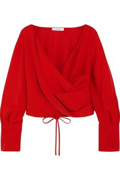 Adeam - Wrap-effect Crepe Blouse - Tomato red - x small