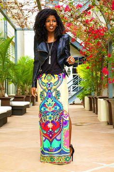 biker jacket +pocket tee + printed maxi skirt