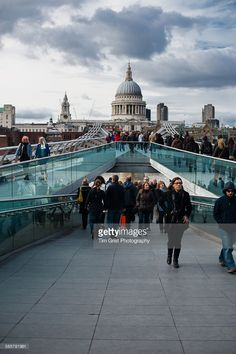 A view towards St Paul's Cathedral, London from the Millennium Bridge.