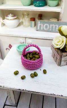 Miniature basket dollhouse crochet basket 1 12 by DewdropMinis Dollhouse Accessories, Dollhouse Miniatures, Baskets, Crochet, Pink, Handmade, Stuff To Buy, Crochet Hooks, Hand Made
