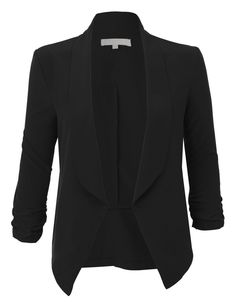 Sharpen your wardrobe with this lightweight ruched sleeve open front blazer jacket. A softly draped open-front silhouette softens the look while the ruched sleeves adds a modern touch to this blaz Business Casual Outfits, Business Attire, Mode Hijab, Looks Style, Work Attire, Blazers For Women, Blue Blazers, Work Fashion, Fashion Women